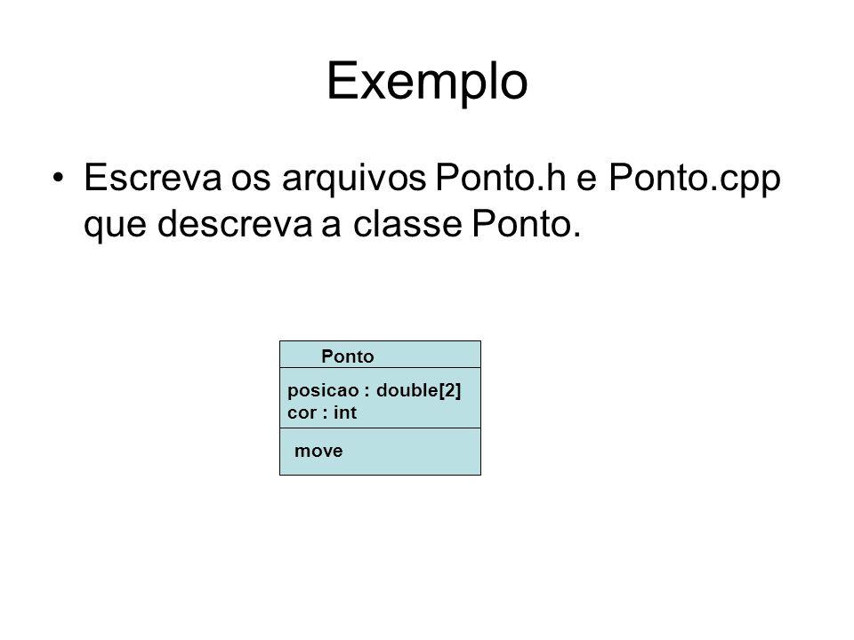 Exemplo Escreva os arquivos Ponto.h e Ponto.cpp que descreva a classe Ponto. Ponto. posicao : double[2]
